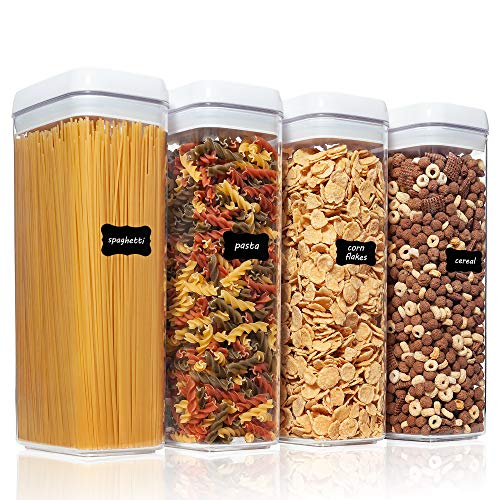Airtight Food Storage Containers Vtopmart 4 Pieces Large BPA Free Plastic Spaghetti Containers with Easy Lock Lids for Kitchen Pantry Organization and Storage Include 24 Labels