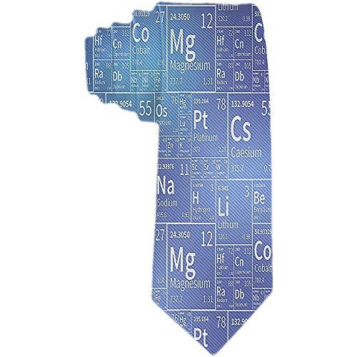 Corbata para hombres Elementos químicos de la tabla periódica Iconos blancos Corbata de seda de poliéster