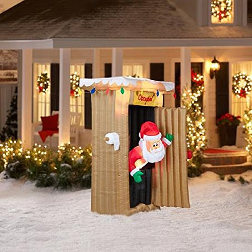 CHRISTMAS INFLATABLE 6 FT TALL ANIMATED LED LIGHTED OUTHOUSE SANTA OUTDOOR YARD PROP