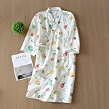 Pijama de kimono nuevo de primavera para mujer, ropa de enfermería para mujer, pijama de algodón cómodo, dibujos animados de fruta, ropa para el hogar impresa, como se muestra en la imagen_M