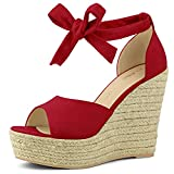 Allegra K Women's Espadrilles Tie Up Ankle Strap Wedges Red Sandals - 7 M US