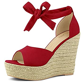 Allegra K Women s Espadrilles Tie Up Ankle Strap Wedges Red Sandals - 7 M US