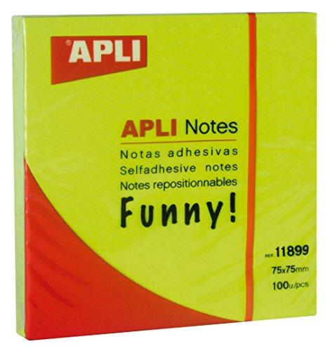 APLI 11899 - Notas adhesivas FUNNY 75 x 75 mm bloc de 100 hojas color verde fluorescente