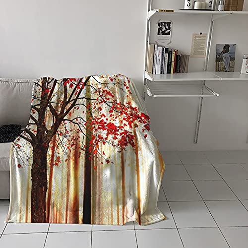 """Thanksgiving Blanket Soft Flannel Throw Blanket for Bed Couch Sofa Decorative Blanket Red Fallen Leaves in Autumn Forest Plush Fluffy Cozy Microfiber Blankets, 50""""x60"""""""