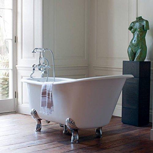 Casa Padrino Jugendstil Badewanne Naturstein freistehend 1700mm BHan Weiß - Freistehende Retro Barock Antik Badewanne, Badewannen Füsse:Luxury Classic Silber