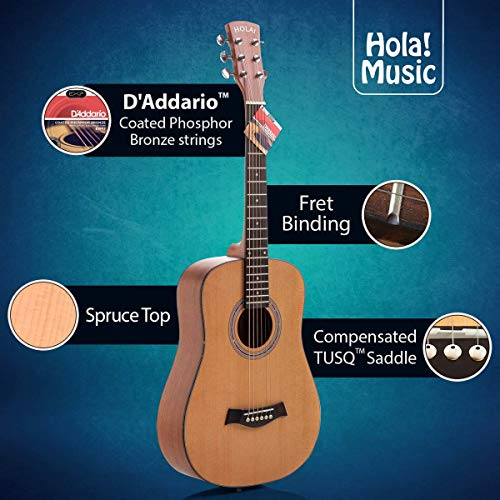 3/4 Size (36 Inch) Acoustic Guitar Bundle Junior/Travel Series by Hola! Music with EXP16 Steel Strings, Padded Gig Bag, Guitar Strap...