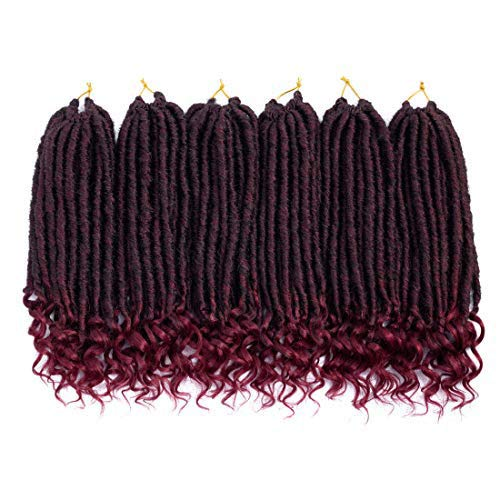 Diosa recta Faux Locs con extremos rizados Ombre Locaciones de trenzado Kanekalon Crochet sintético Extensiones de cabello Trenzas para trenzas T1B-BUG
