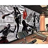 Rureng Personaliza 3D Foto Mural Papel Pintado Retro Metal Pared Boxeo Ejercicio Gimnasio Pared Fondo 3D Wall Murals-200X140Cm