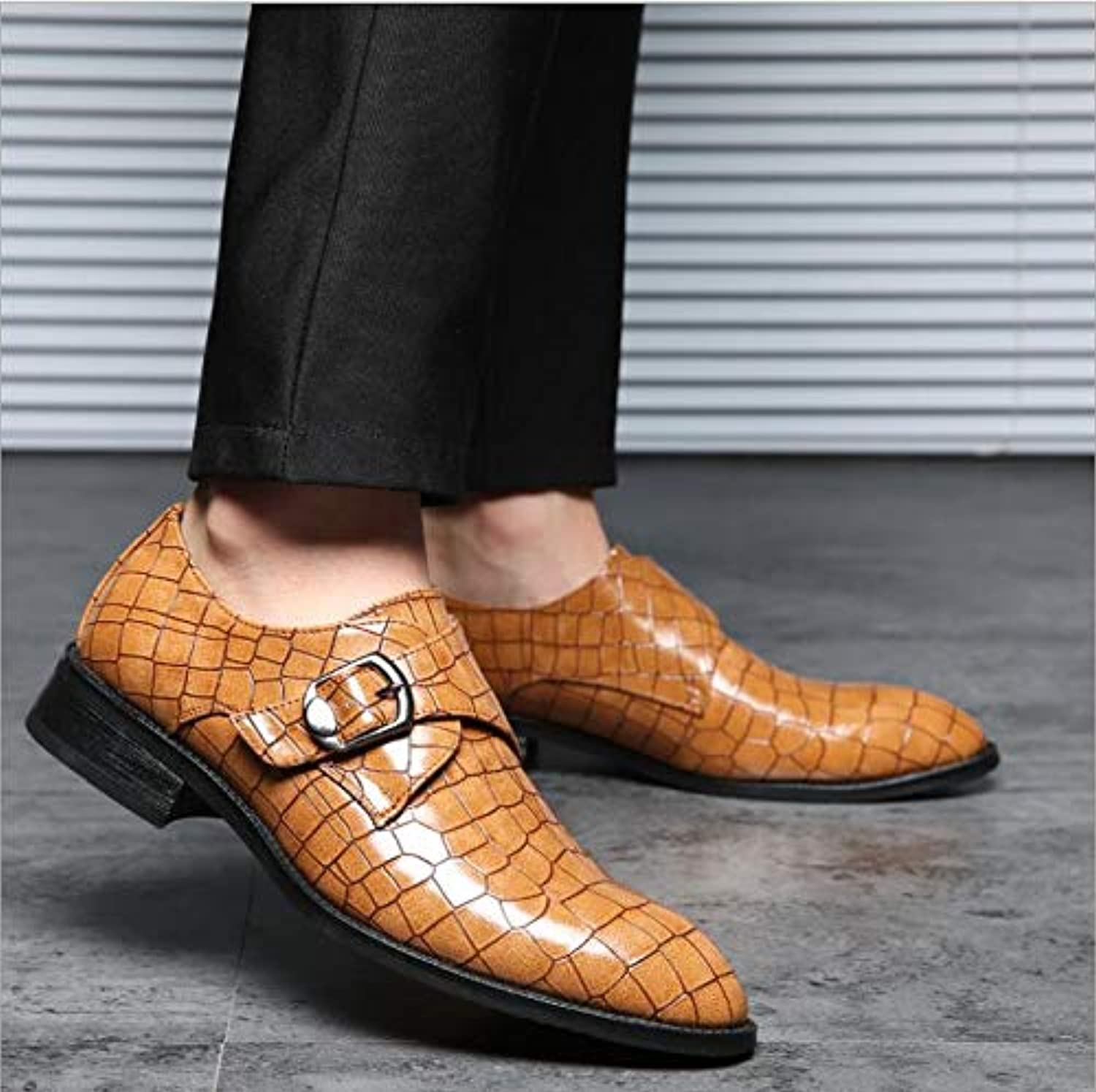 LOVDRAM Men'S Leather shoes New Men Dress shoes Formal Wedding Pu Leather shoes Retro Brogue Business Office Men'S Flats Oxfords For Men 6.5 As Pic