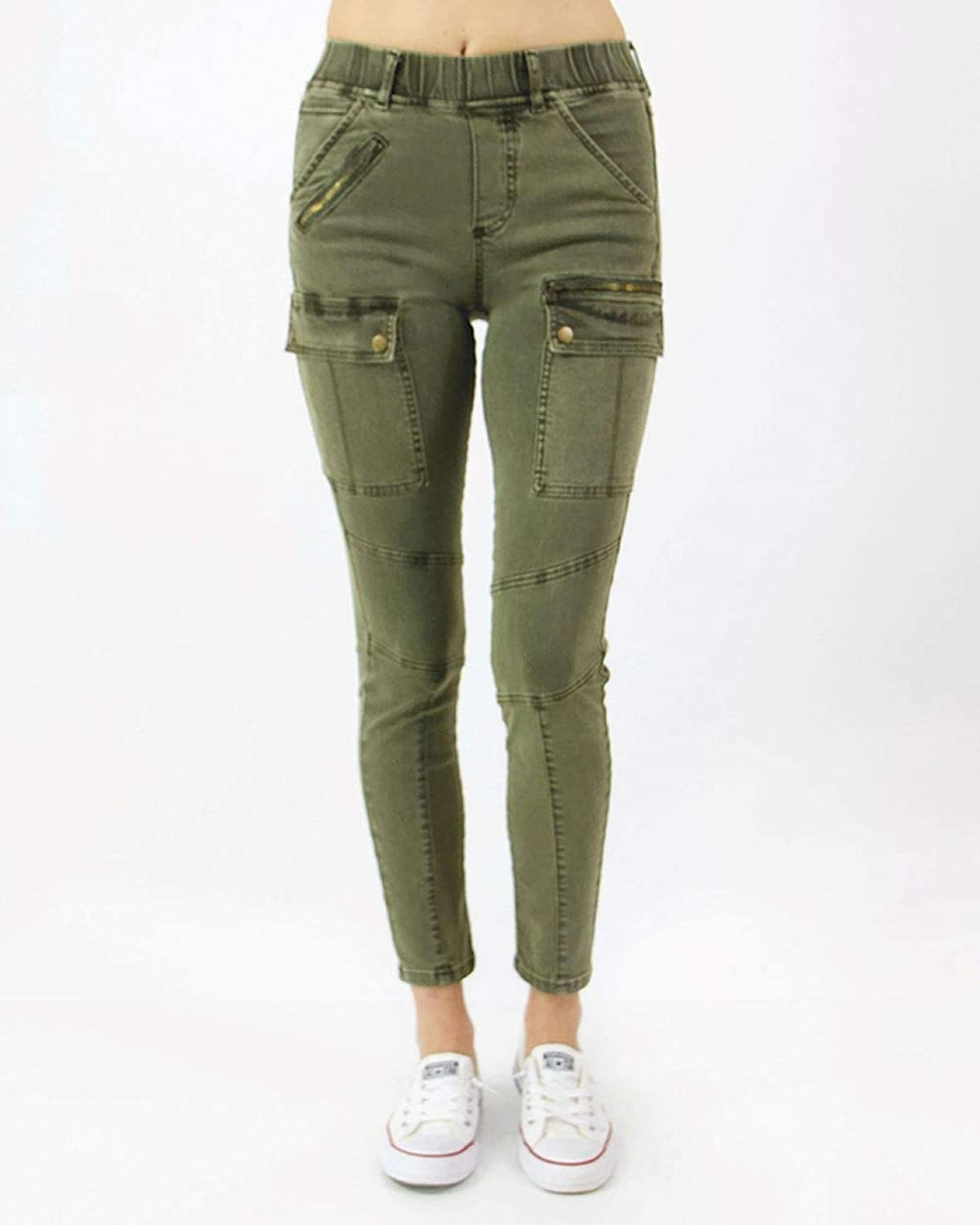 Grace and Lace Ladies Skinny Stretch Jeans Cargo Jeggings Women Olive Green