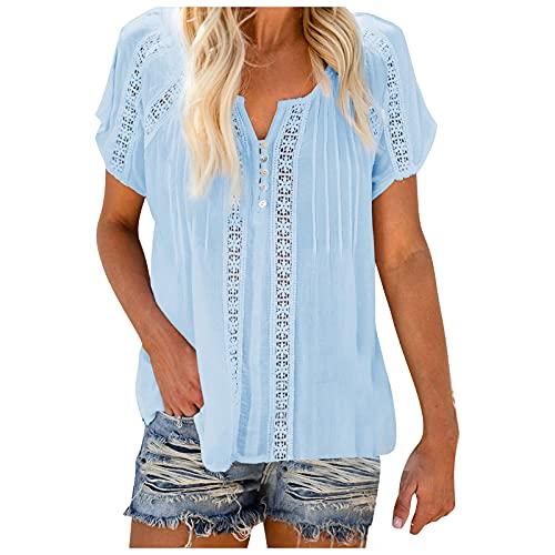Bilbull Moda sexy para mujer con costuras de encaje estampadas, blusa corta, blusa, sudadera, sudadera, cuello en V, diseño de hojas, sin mangas azul claro XL
