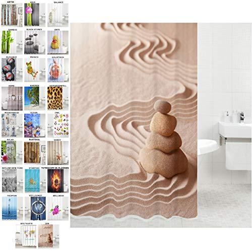 Sanilo Duschvorhang, viele schöne Duschvorhänge zur Auswahl, hochwertige Qualität, inkl. 12 Ringe, wasserdicht, Anti-Schimmel-Effekt (Zen, 180 x 180 cm)