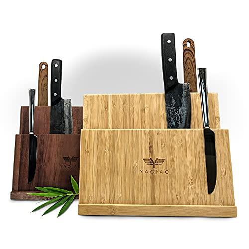 YACIAO Messerblock magnetisch Bambus- 2in1 Messerblock ohne Messer & behälter küche -Magnet, magnetisch - magnetischer messerblock, Kitchen Organizer, messerblock unbestückt