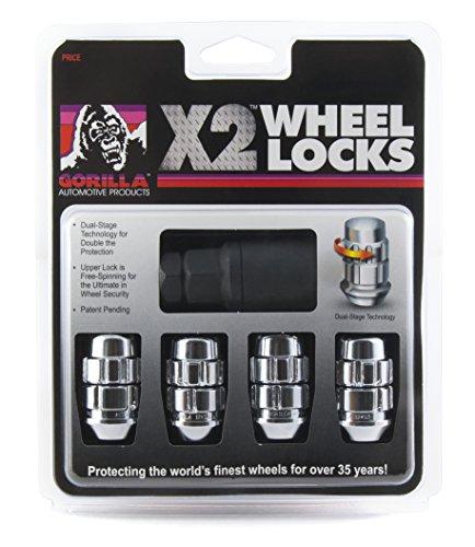 Gorilla Automotive (71641X) 14mm x 1.50 Thread Size Acorn Chrome X2 Wheel Lock, (Pack of 4)