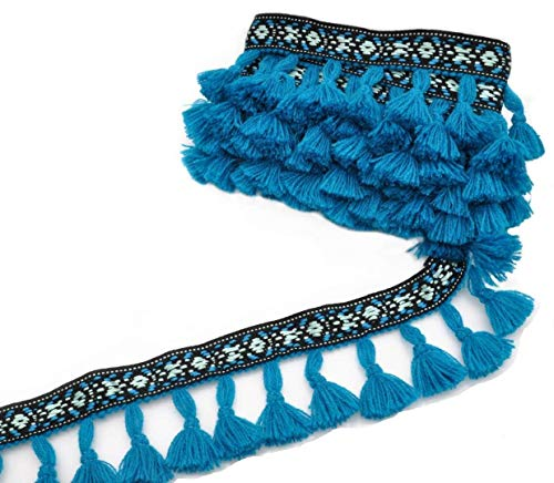 Marsha Q Embroidered Tassels Fringe Trim Boho Knitting Yarn Lace Ribbon 3 Yard Blue for Sewing Crafts Applique Design Decorating Embroidery Clothing Accessories Bedding Curtains Paper Crafts