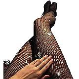 Bohend Diamante de imitación Rejilla Medias Medias Negro Brillar Redes de pesca Elástico Cintura alta Club nocturno Pantys Partido Media para mujeres (2 piezas)