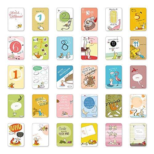Mein 1. Kalender, 30 wundervolle Baby Meilensteinkarten Set, Geschenk zur Geburt, Babyparty, 10x15cm
