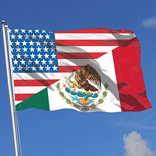Flags Half Usa Half Mexico outdoor flag,Vivid Color and fade Resistant double side, All Seasons Banner Flag Festival Holidays Yard Banner House Banner Decorative Backyard Beautiful Printing 3X 5 Ft