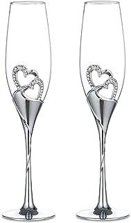 comprar comparacion Sziqiqi Un Par De Copas De Champaña Copa del Vino Tinto Copa Copas como Regalo De Boda En Forma De Corazón, Plata