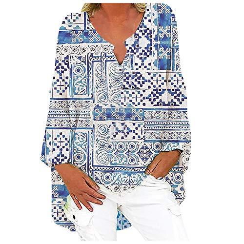 Lalaluka Camiseta de manga larga para mujer, cuello en V, moda informal, manga larga, estampado suelto, talla grande gris M