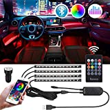 Tira LED Coche Interior Bluetooth USB Bawoo 4pcs 48 LED Tiras de Luces App Control Remoto Voz Impermeable Iluminación LED Tira Coche Música Luces Tiras TV Decoración DIY Modos Multicolor con Cargador