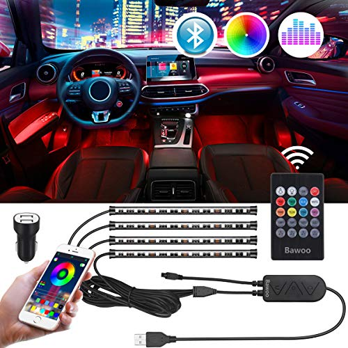 Tira LED Coche Interior Bluetooth USB Bawoo 4pcs 48 LED Tiras de Luces App Control Remoto Voz Impermeable Iluminación LED Tira Coche Música Luces Tiras TV Decoración DIY Modos Multicolor con Cargador