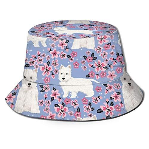 PetFriendly Sonnenhut, Westie Cherry Blossoms West Highland Terrier, süßestes, flauschiges weißes Hundemuster, Kunst, Sonnenhut, Eimer-Stil, für Herren und Damen, faltbarer Fischer, Strandhut