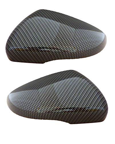 2 Spiegelkappen Set Carbon-Optik Golf 6 Wassertransferdruck Gehäuse Aussenspiegel neu