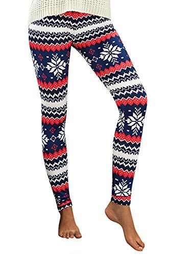 Roevite Womens Christmas Leggings Plus Size Snowflake Printed Xmas Stretchy Pants L/XL Style-5