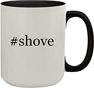 #shove - 15oz Hashtag Colored Inner & Handle Ceramic Coffee Mug, Black