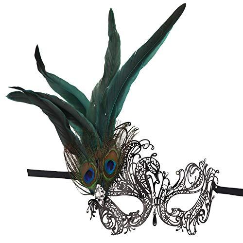 Thmyo Strass Pfau Federn Masquerade Maske, Laser Cut Metall venezianischen Prom Maske (Stil 2)