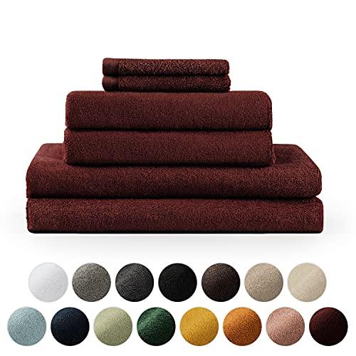 Blumtal Teli da bagno, Asciugamani 100% Cotone Certificato Oeko-Tex 100, Set da 2 Teli da bagno (70x140cm) + 2 Asciugamani (50x100cm) + 2 Salviette (30x30cm), Rosso Aurora