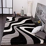 paco home tappeto di design motivo ondulato orlo lavorato a mano nei colori nero grigio bianco, dimensione:80x150 cm