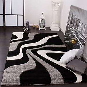 Paco Home Alfombra De Diseño Perfilado - Estampado De Ondas - Negro Gris Blanco, tamaño:120x170 cm