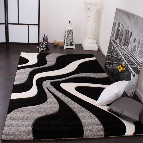 Paco Home Alfombra De Diseño Perfilado - Estampado De Ondas - Negro Gris Blanco, tamaño:160x230 cm