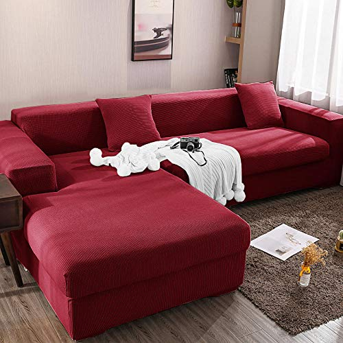 Fsogasilttlv Kissenbezug SofabezüGe Sofa üBerzug Couch Bezug 2-Sitzer und 4-Sitzer, einfarbige Couchbezug-Sofabezug für Wohnzimmer, universelle Schonbezug-Sofabezüge 145-185cm and 235-300cm(2pcs)
