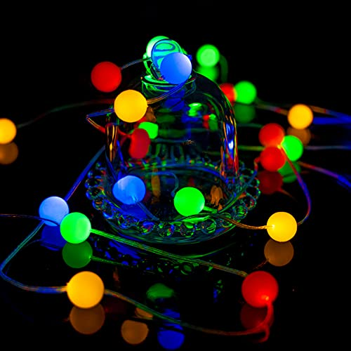 Battery Fairy Lights, HuTools Colored LED String Lights for Curtains Bedroom Indoor Gardens Outdoor, Battery Operated Lighting for Home Decoration and Festival, 10FT 30 RGB LED Globe Ball Lights