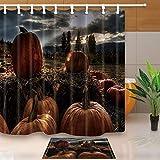 COMPY Polyester Wasserdichter Schimmelschutz mit Haken Duschvorhänge Seltsame Nacht Bergmond Fledermaus Halloween-Badeschirme, B-5339, B180xH180cm Vorhang
