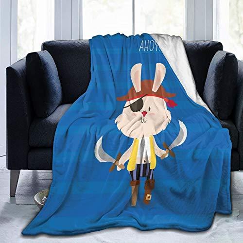 Manta mullida, bonita manta de conejo pirata con parche de ojo, ilustración de dibujos animados gráficos, ultra suave, manta para dormitorio, cama, TV, manta de cama de 152 x 127 cm