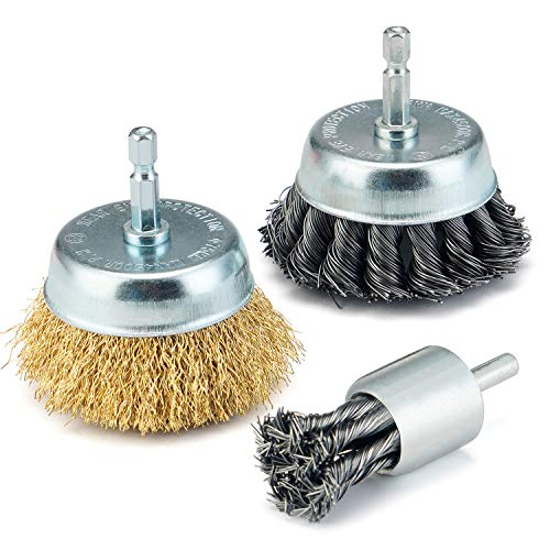 """TILAX 3 Inch Wire Cup Brush End Brush Set 3 Piece, Wire Brush for Drill 1/4 Inch Hex Shank Arbor 0.012"""" Brass Coated Crimped and 0.019"""" Carbon Steel Knotted Wire Brush, for Drill Attachment"""