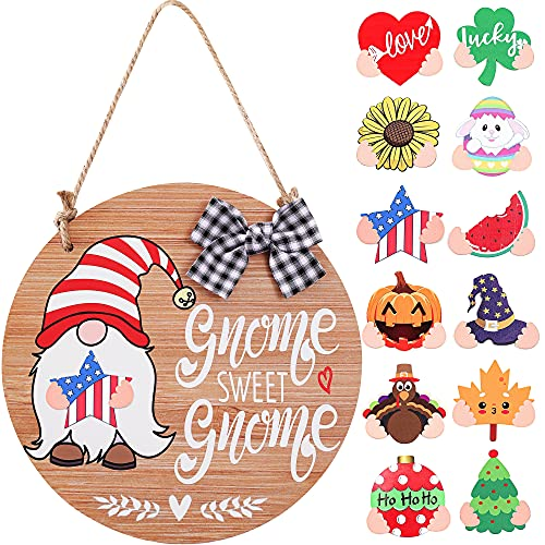 CYNOSA Interchangeable Seasonal Gnome Sweet Gnome Welcome Sign Front Door Decor Wooden Gnome Door...