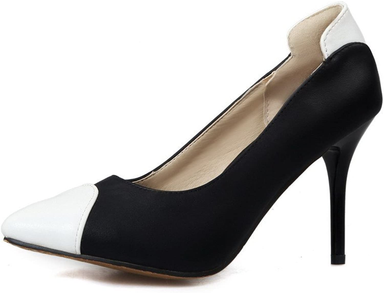 AllhqFashion Women's Pointed Toe Spikes Stilettos Soft Material Assorted color Pumps-shoes
