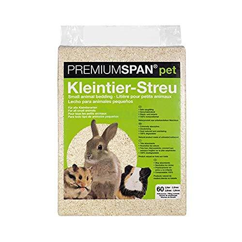 PREMIUMSPAN pet Kleintier-Streu Hobelspäne, 60l – 3.5 kg