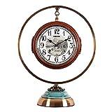 Lucky Home - Reloj de pie decorativo con números arábigos, mecanismo de cuarzo a pilas, doble reloj con decoración antigua