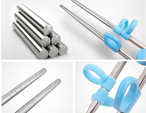 練習箸キッズ用トレーニング箸子供用品3点セット右手用ケース付き箸、スプーン、フォーク(グリーン)