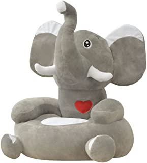 VidaXL Chaise peluche pour enfants  l phant gris