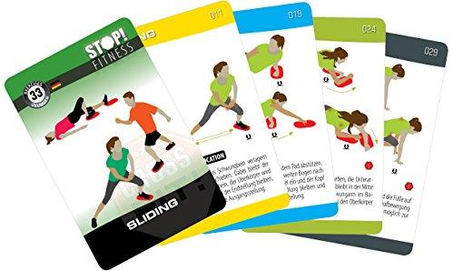 STOP! Fitness | Sliding | Trainingskarten Übungskarten, deutsche Version, Kartengröße 66 x 100 mm mit Kunststoffbox