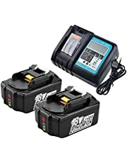 2x BL1850B accu 18V 5,0Ah met oplader DC18RC reservebatterijen voor Makita BL1830 BL1840 BL1850, Makita DUC353Z DUC302Z DLM380Z DLM431Z DUH523Z, Makita Radio DMR102 DMR105 DMR105 8.