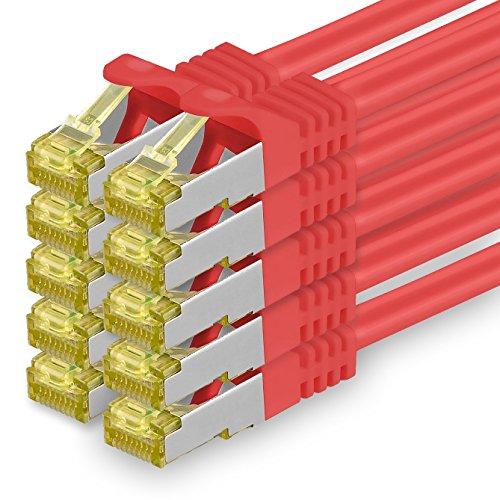 Cat.7 Netzwerkkabel 0,5m Rot 10 Stück Cat7 Ethernetkabel Netzwerk LAN Kabel Rohkabel 10 Gb s SFTP PIMF LSZH Set Patchkabel mit Rj 45 Stecker Cat.6a