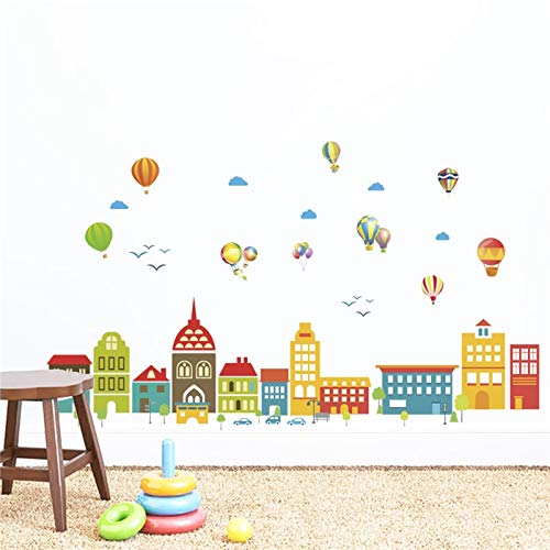FOMBV Muursticker luchtballon gebouw molen muur slaapkamer kinderkamer huis decoratiemuur stickersmural kunst decoraties